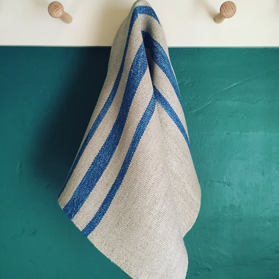 Handwoven Hemp Towel with Hand Dyed Indigo Stripes