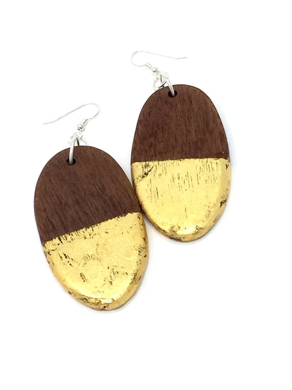 Sapele Wood, Gold Leaf, and Sterling Silver Earrings