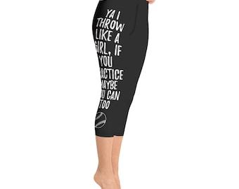 6078bf0998d52 Yoga Capri Leggings, throw like a girl, softball leggings