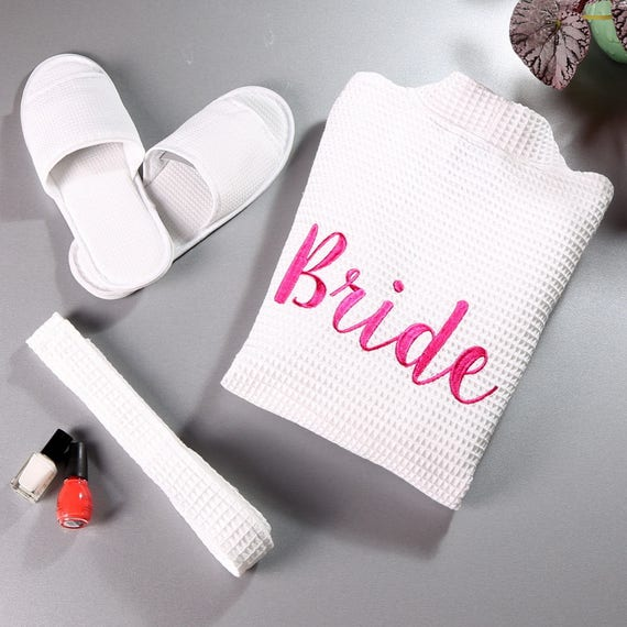 Aztex Waffle Bridal Party Robe and Slipper Set in White