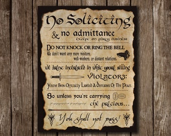 Lord Of The Rings No Soliciting Sign