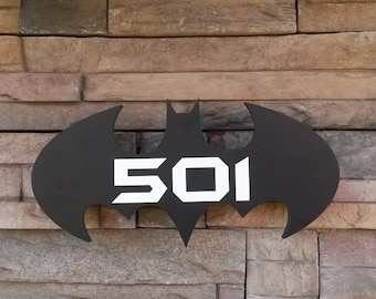 Batman Inspired Home Address Plaque - With Custom Address Numerals