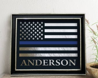 Police Officer Gift,  Personalized Thin Blue Line Flag, Law Enforce sign