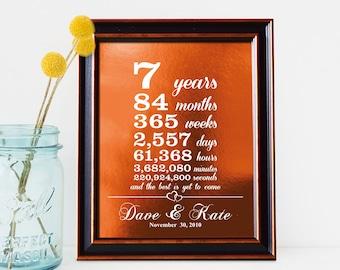7 year anniversary gift, 22nd anniversary gift, copper anniversary gift