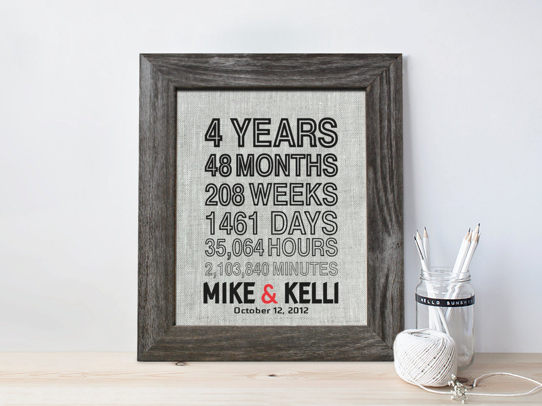 4th Anniversary Gift For Men Fourth Wedding Anniversary Etsy