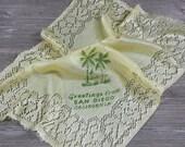 San Diego Souvenir Hankie, California Handkerchief, Yellow Faux Silk Hanky, Collectible
