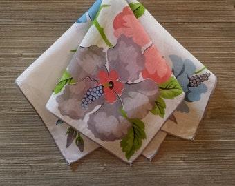 Vintage Hankie, Blue Lilies, Gray Floral Handkerchief, Ladies Hankerchief