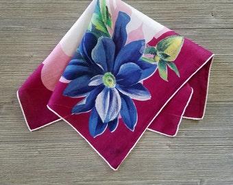 Vintage Hankie, Blue Lily, Burgundy & Pink, Floral Handkerchief, Hankerchief, Something Blue