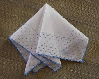 Blue Flocked Handkerchief, Vintage Hankie, Something Old, Something Blue, Hankerchief, Hanky