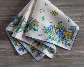 Vintage Hankie, Blue & Yellow, Floral Handkerchief, Something Blue, Yellow Wedding Accessory