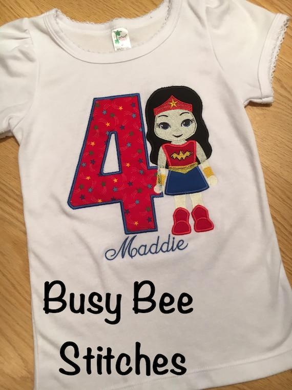 Appliqued Wonder Woman Birthday Shirt