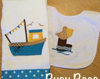 Louisiana Fishing Boat and Pelican Burp Cloth and Bib Set