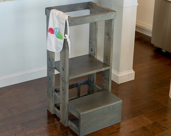 Safe Step Stool, Child Safety Kitchen Stool, Mommy's Helper,  Learning Center, Toddler Safety Stool, Tot Tower