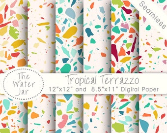 Terrazzo Digital Paper Pack Seamless Repeating Pattern In Tropical Colors Wallpaper Designs Patterns