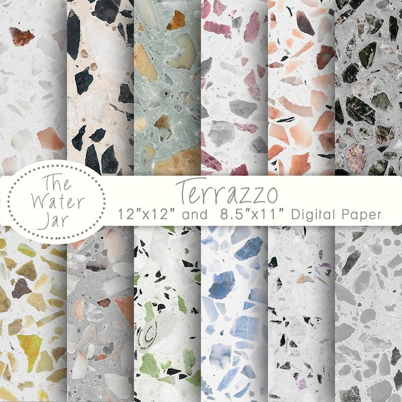 Terrazzo Digital Paper Patterns For Wallpaper Or