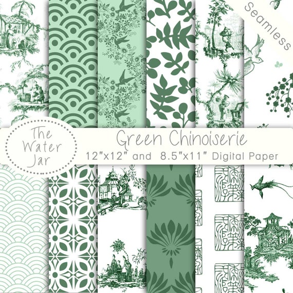Green Chinoiserie Digital Papers Chinoiserie Wallpaper Etsy