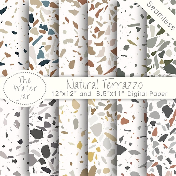 Digitale Terrazzo Designs Naturliche Terrazzo Fliesen Muster Etsy