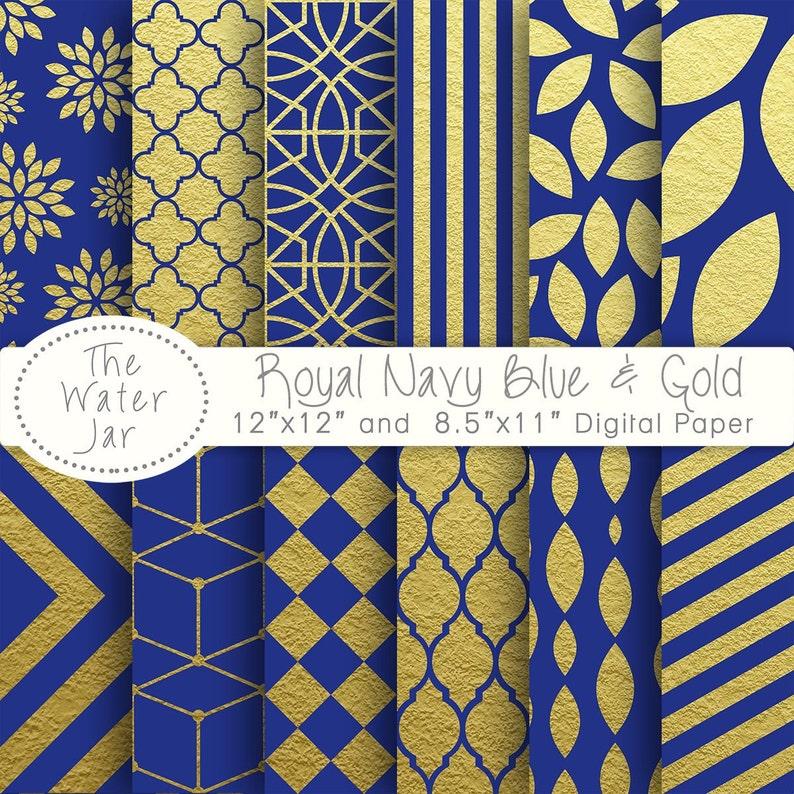 Carta Digitale Oro E Blu Navy Blu Royal Con Disegni Digitali Etsy