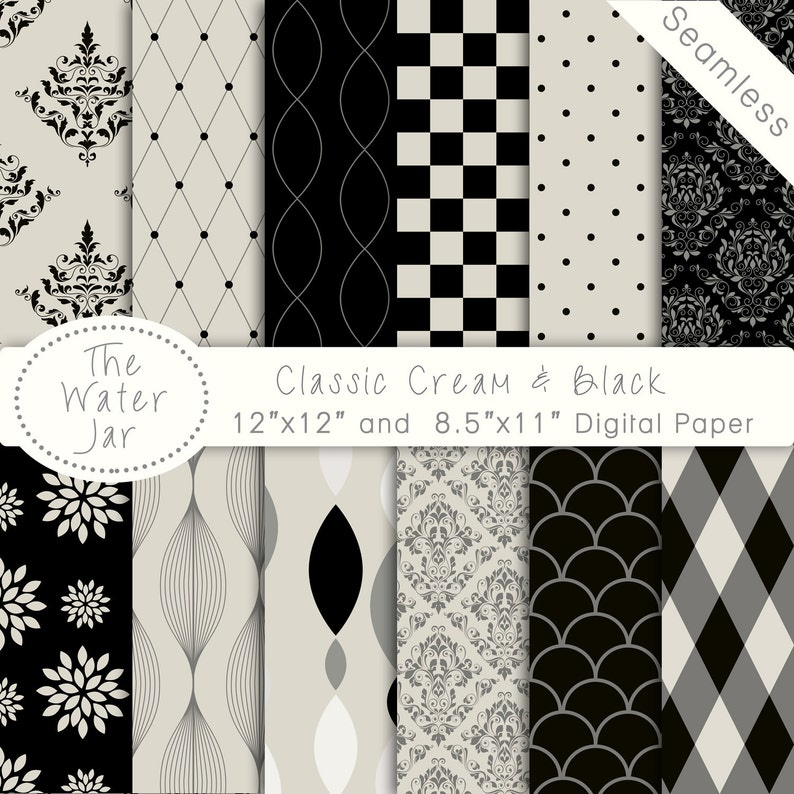 Classic Black Cream Seamless Digital Paper Commercial Use Etsy