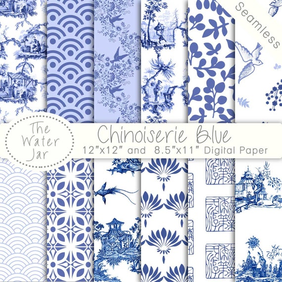 Chinoiserie China Blue Digital Papers Chinoiserie Scrapbook Etsy