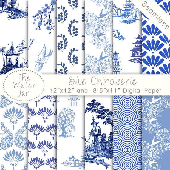 Chinoiserie Wallpaper China Blue Digital Paper Pack Commercial Use Chinese Patterns Seamless Pattern Designs And White From TheWaterJar On Etsy