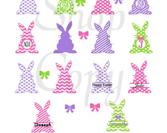 SVG Cutting Files Bunny Monogram Shapes SVG  - Vector Clip Art for Commercial and Personal Use - Instant Download-Cricut, Cameo, Explore
