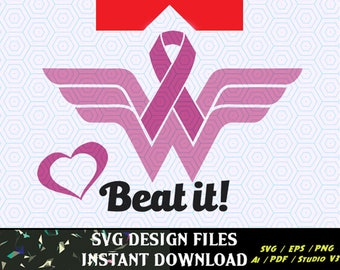 Wonder Woman Breast Cancer Awareness Ribbon svg file for Cricut, Silhouette Cameo craft cutters
