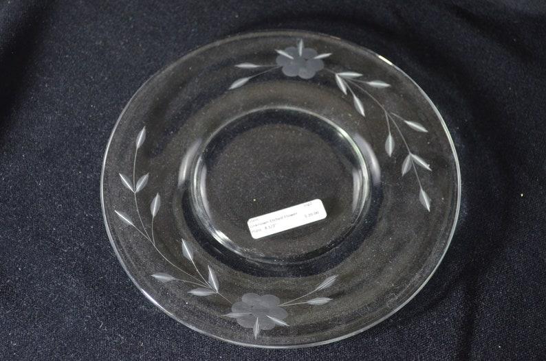 Vintage Floral Cut Glass Salad Plate Dessert Plate