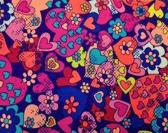 Flower / Hearts Spandex Nylon 4 Way Stretch Fabric by the Yard