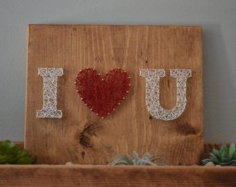 I <3 U String Art, Anniversary Gift String Art, Love String Art,  Letter String Art, Nursery Decor, I love you gift, christmas