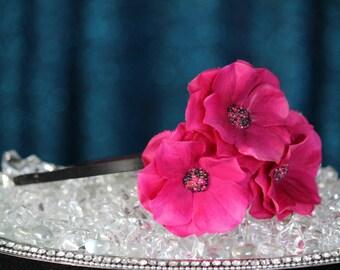 FabuStyle Pink Layered Silk Flower Fascinator Headband with Bead Centers