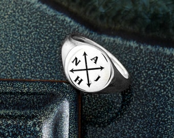 Personalised Family Initials Signet Ring - Silver Signet Ring For Men- Mans Pinkie Ring - Personalized PInky Ring - Solid Silver Signet Ring