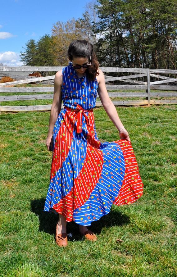 9f8529c185a Red Blue Striped Patriotic Floral Maxi Dress 70s Vintage