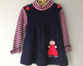 Sweet Vintage Circus Clown Dress w/ Stripes Turtleneck and Longsleeves Size 2t - OSVKC0101