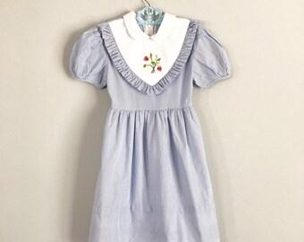 aba990f5e6f Vintage Sylvia Whyte Blue Pinstripe Embroidered Strawberry Party Dress Size  6x - OSVKC0593