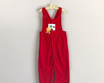 f8a06aaaa22 Vintage Sylvia Whyte Saks Fifth Avenue Cherry Red Corduroy School Girl  Overalls Size 4t - OSVKC0562
