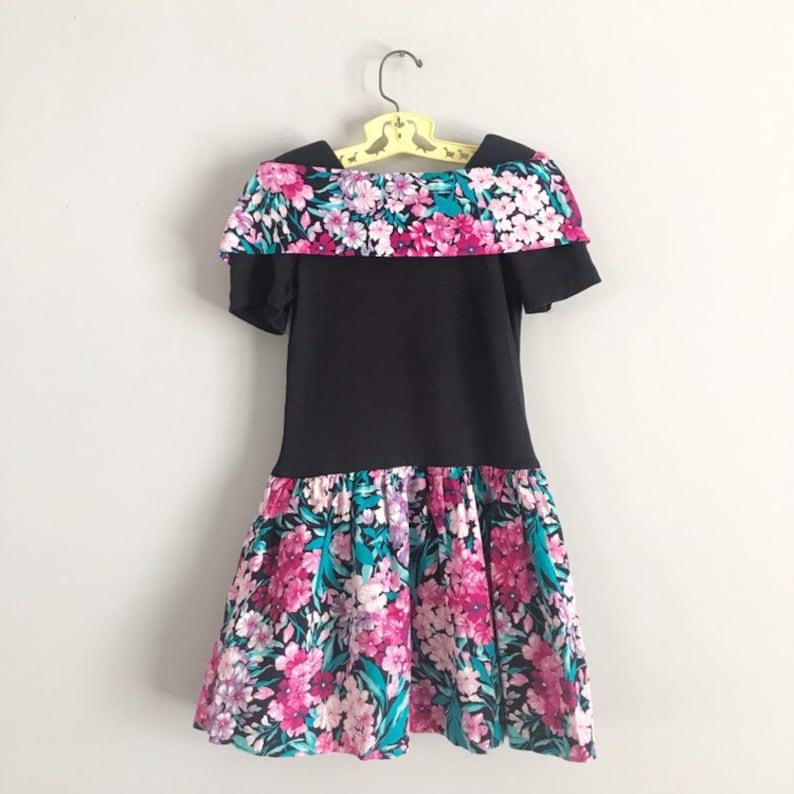 Vintage 80/'s 90/'s Caitlyn Scott Soft Floral Party Dress with Shoulder Pads Size 7 OSVKC0665
