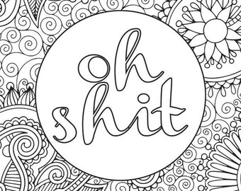 Adult Coloring Book Page Fuck You Etsy
