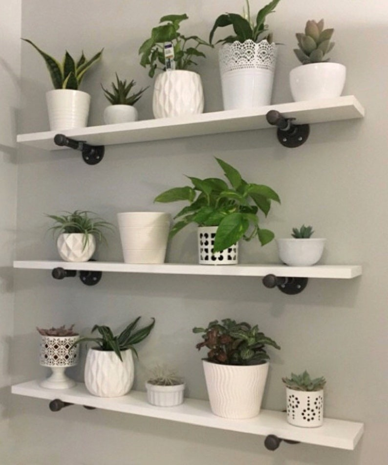 Open Shelving Industrial Shelf Pipe Shelf White Floating Etsy