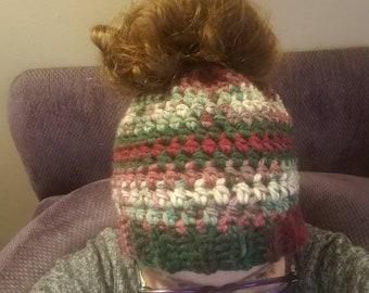6ab5bb2cc Crochet Messy Bun Ponytail Hat