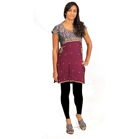 Embroidered and beaded silk dress made from vintag