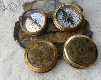 Brass Nautical 100 Year Calendar Pocket Compass With Anchor Wooden Box Big Clearance Sale Antiques