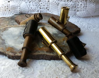 Miniature Brass Telescope - Nautical Maritime - Leather Mini Spyglass - STEAMPUNK Pendant, Charm, Vintage Style Telescope