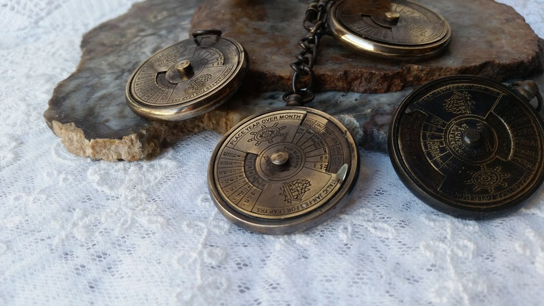 LOT OF 50 Necklace Style Calender Antique Brass Mini 37MM Calender-Nautical GifT