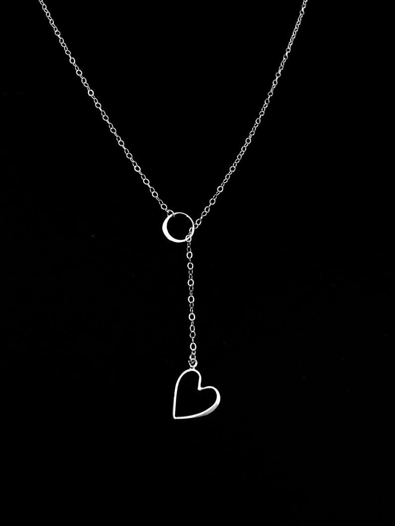 168a5c3249604 Sterling Silver Lariat Necklace, Long Drop Necklace, Heart Outline, Mother  Daughter Minimal Necklace, Godmother Gift, Long Y and Layering