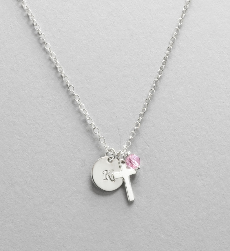 Personalized Initial Jewelry for Little Girl Confirmation First Communion Gift for Baptism Sterling Silver Cross Necklace Birthstone