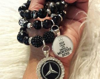 Bracelets, Bracelet, Beaded Bracelets, Charm Bracelets, Stack Bracelets for Women, Stretch Bracelets, Jewelry, Gift Idea, Mercedes Benz Logo