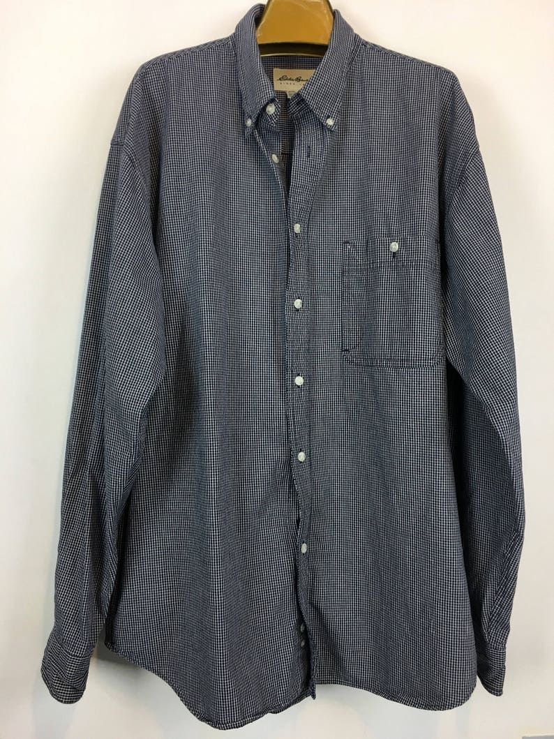 Vintage Eddie Bauer broadcloth blue and white plaid Sz XL work shirt, vintage men's clothing
