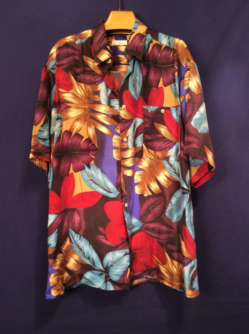 8de66627a1 Pure Vintage Silk Tropical Print Aloha Shirt Sz L vintage