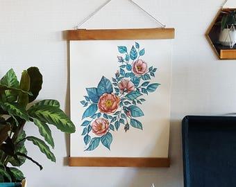 Original Watercolor Rosehip Flowers